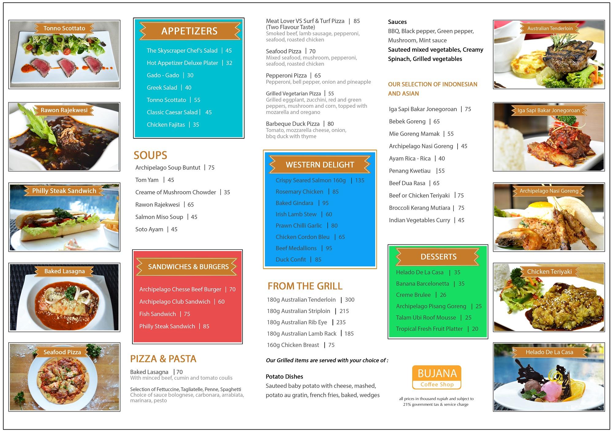 menu bujana